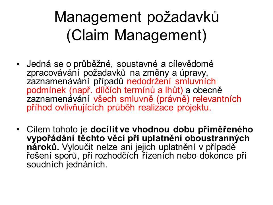Management požadavků (Claim Management) Jedná se o průběžné, soustavné a cílevědomé zpracovávání požadavků na změny a úpravy, zaznamenávání případů ne