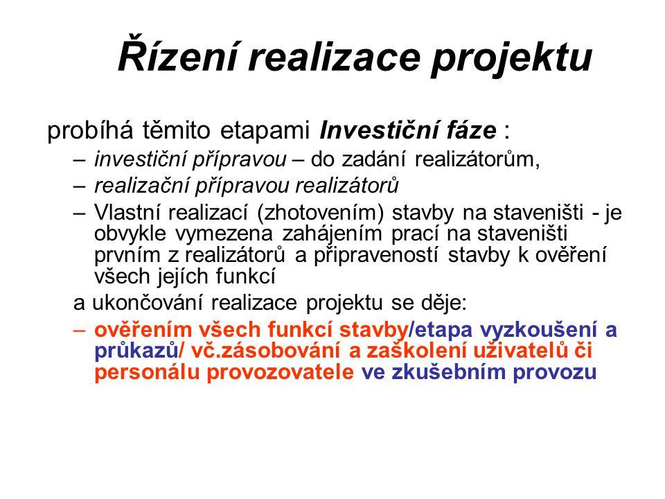 Řízení realizace projektu probíhá těmito etapami Investiční fáze : –investiční přípravou – do zadání realizátorům, –realizační přípravou realizátorů –