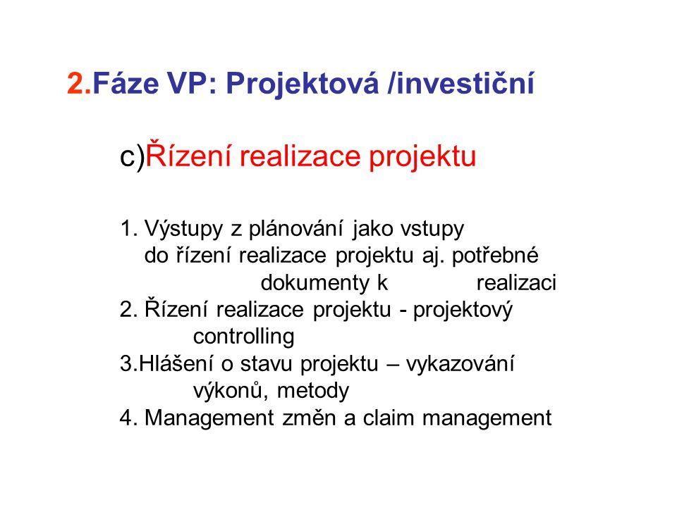 2.Fáze VP: Projektová /investiční c)Řízení realizace projektu 1. Výstupy z plánování jako vstupy do řízení realizace projektu aj. potřebné dokumenty k
