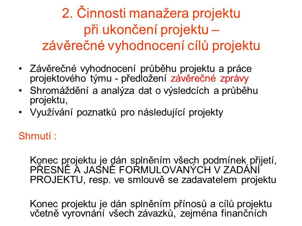 2. Činnosti manažera projektu při ukončení projektu – závěrečné vyhodnocení cílů projektu Závěrečné vyhodnocení průběhu projektu a práce projektového