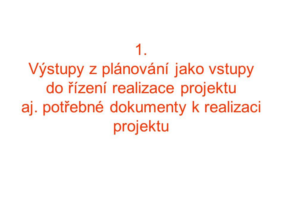 1. Výstupy z plánování jako vstupy do řízení realizace projektu aj. potřebné dokumenty k realizaci projektu