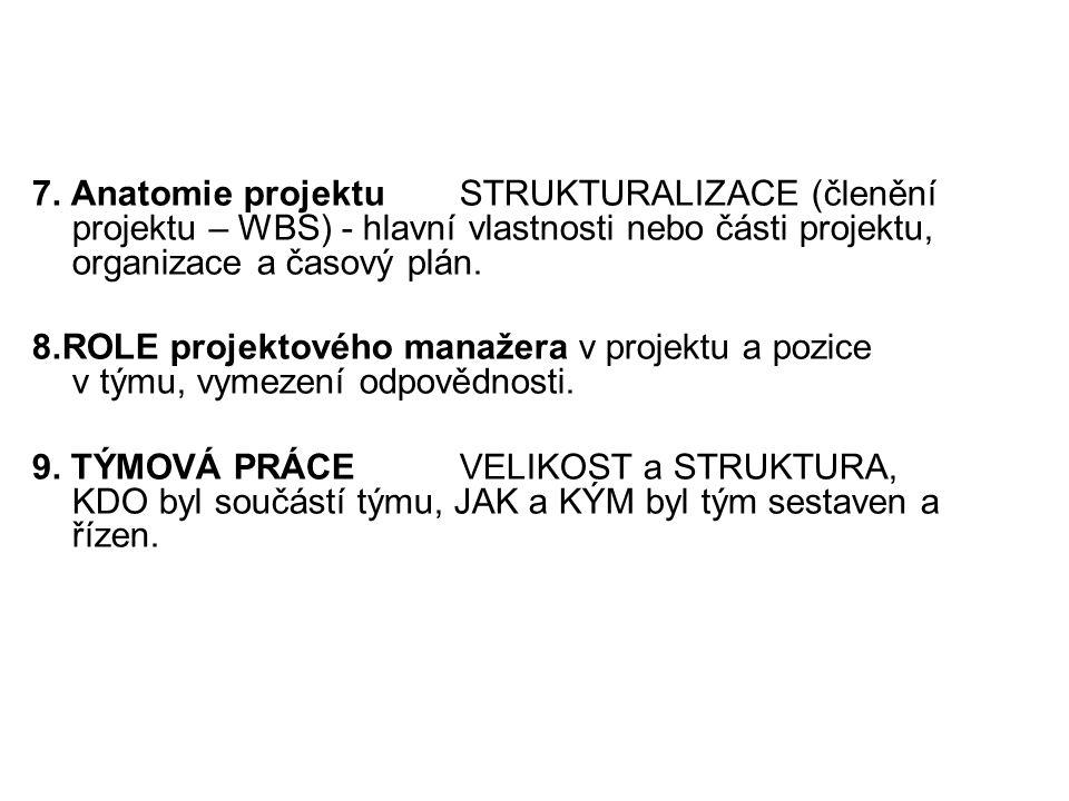 7. Anatomie projektuSTRUKTURALIZACE (členění projektu – WBS) - hlavní vlastnosti nebo části projektu, organizace a časový plán. 8.ROLE projektového ma