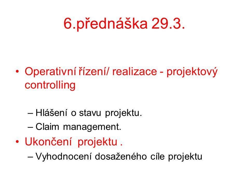 6.přednáška 29.3. Operativní řízení/ realizace - projektový controlling –Hlášení o stavu projektu. –Claim management. Ukončení projektu. –Vyhodnocení