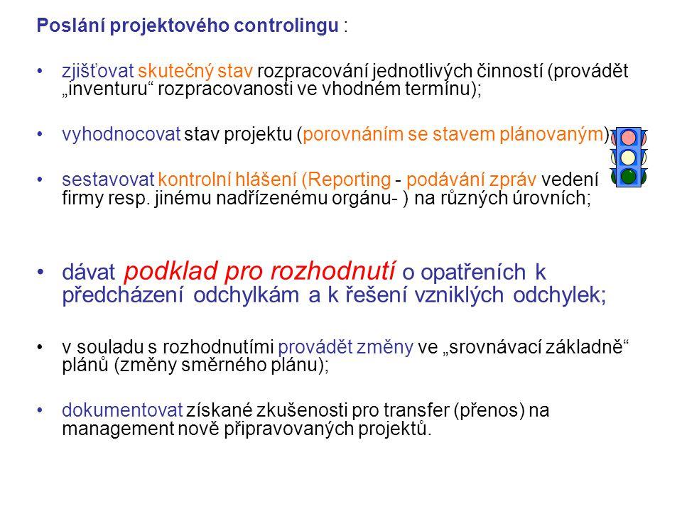 """Poslání projektového controlingu : zjišťovat skutečný stav rozpracování jednotlivých činností (provádět """"inventuru"""" rozpracovanosti ve vhodném termínu"""