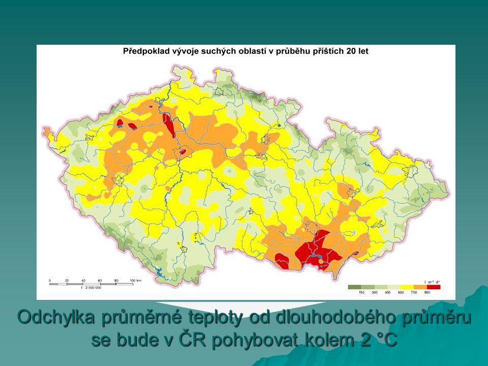 Odchylka průměrné teploty od dlouhodobého průměru se bude v ČR pohybovat kolem 2 °C