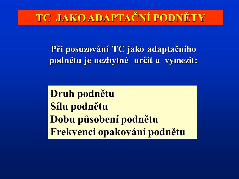 TC JAKO ADAPTAČNÍ PODNĚTY Při posuzování TC jako adaptačního podnětu je nezbytné určit a vymezit: Druh podnětu Sílu podnětu Dobu působení podnětu Frekvenci opakování podnětu