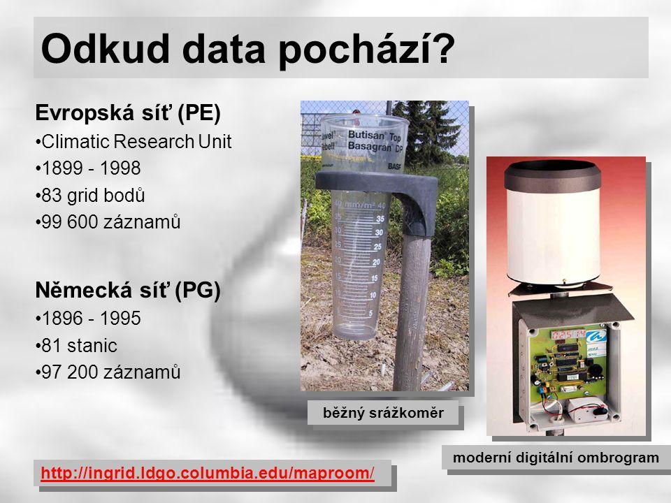 Odkud data pochází? běžný srážkoměr moderní digitální ombrogram Evropská síť (PE) Climatic Research Unit 1899 - 1998 83 grid bodů 99 600 záznamů Němec