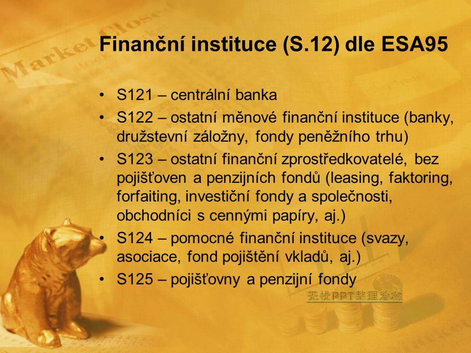 Finanční instituce (S.12) dle ESA95 S121 – centrální banka S122 – ostatní měnové finanční instituce (banky, družstevní záložny, fondy peněžního trhu) S123 – ostatní finanční zprostředkovatelé, bez pojišťoven a penzijních fondů (leasing, faktoring, forfaiting, investiční fondy a společnosti, obchodníci s cennými papíry, aj.) S124 – pomocné finanční instituce (svazy, asociace, fond pojištění vkladů, aj.) S125 – pojišťovny a penzijní fondy