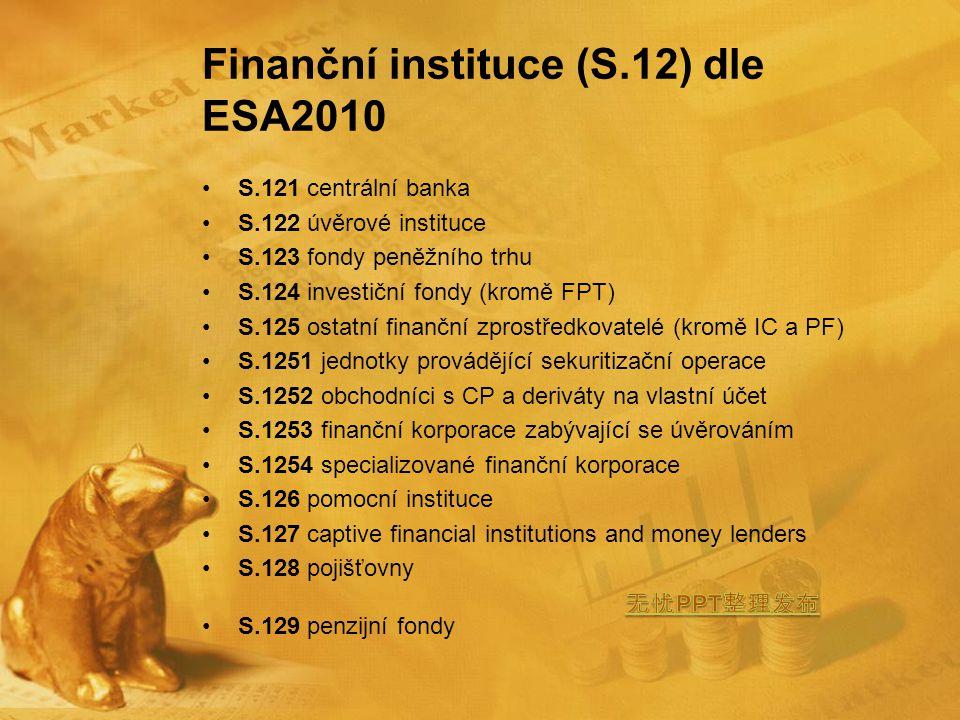 Finanční instituce (S.12) dle ESA2010 S.121 centrální banka S.122 úvěrové instituce S.123 fondy peněžního trhu S.124 investiční fondy (kromě FPT) S.125 ostatní finanční zprostředkovatelé (kromě IC a PF) S.1251 jednotky provádějící sekuritizační operace S.1252 obchodníci s CP a deriváty na vlastní účet S.1253 finanční korporace zabývající se úvěrováním S.1254 specializované finanční korporace S.126 pomocní instituce S.127 captive financial institutions and money lenders S.128 pojišťovny S.129 penzijní fondy