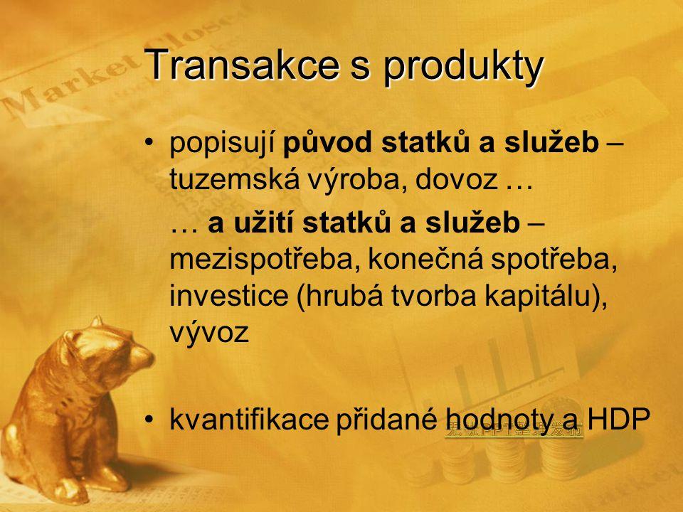 Transakce s produkty popisují původ statků a služeb – tuzemská výroba, dovoz … … a užití statků a služeb – mezispotřeba, konečná spotřeba, investice (hrubá tvorba kapitálu), vývoz kvantifikace přidané hodnoty a HDP