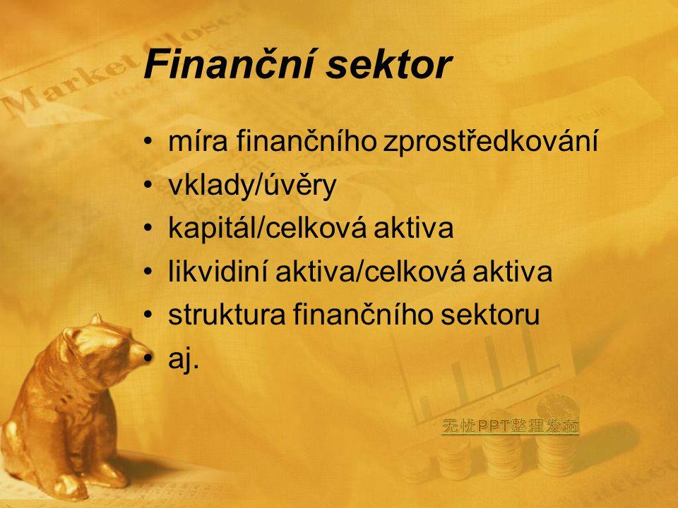 Finanční sektor míra finančního zprostředkování vklady/úvěry kapitál/celková aktiva likvidiní aktiva/celková aktiva struktura finančního sektoru aj.