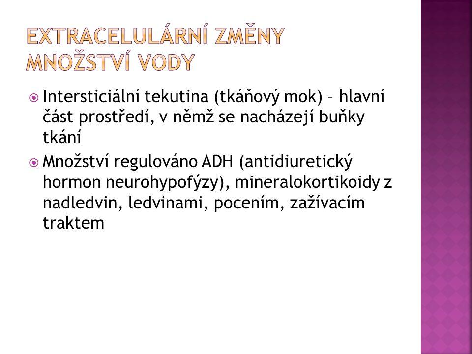  Intersticiální tekutina (tkáňový mok) – hlavní část prostředí, v němž se nacházejí buňky tkání  Množství regulováno ADH (antidiuretický hormon neur