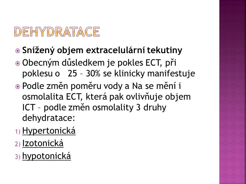  Snížený objem extracelulární tekutiny  Obecným důsledkem je pokles ECT, při poklesu o 25 – 30% se klinicky manifestuje  Podle změn poměru vody a N