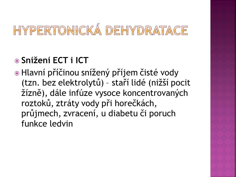  Snížení ECT i ICT  Hlavní příčinou snížený příjem čisté vody (tzn. bez elektrolytů) – staří lidé (nižší pocit žízně), dále infúze vysoce koncentrov