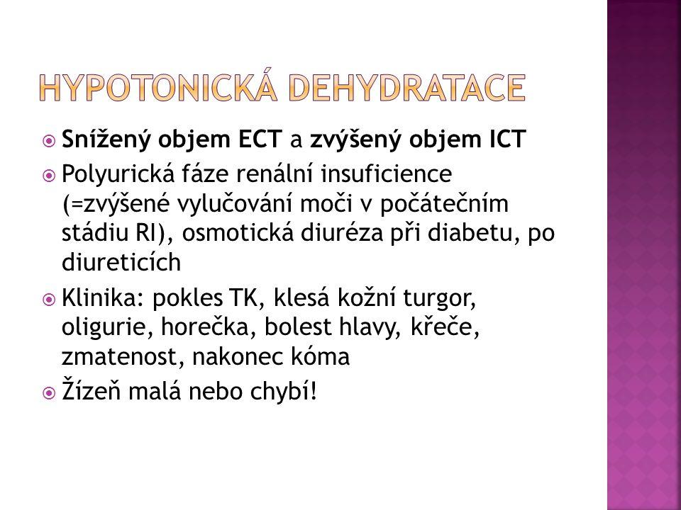  Snížený objem ECT a zvýšený objem ICT  Polyurická fáze renální insuficience (=zvýšené vylučování moči v počátečním stádiu RI), osmotická diuréza př