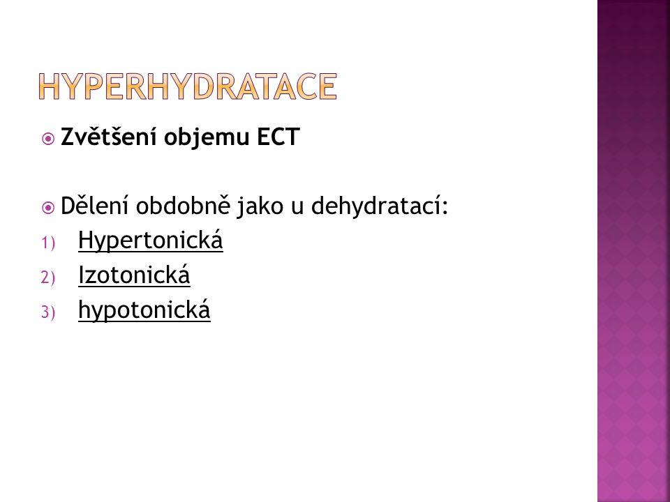  Zvětšení objemu ECT  Dělení obdobně jako u dehydratací: 1) Hypertonická 2) Izotonická 3) hypotonická