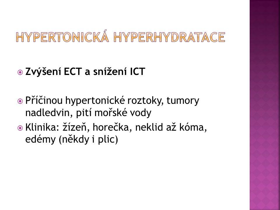  Zvýšení ECT a snížení ICT  Příčinou hypertonické roztoky, tumory nadledvin, pití mořské vody  Klinika: žízeň, horečka, neklid až kóma, edémy (někd