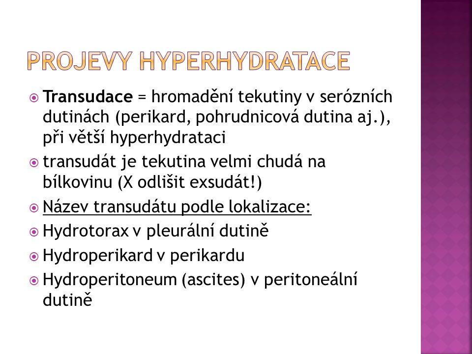  Transudace = hromadění tekutiny v serózních dutinách (perikard, pohrudnicová dutina aj.), při větší hyperhydrataci  transudát je tekutina velmi chu