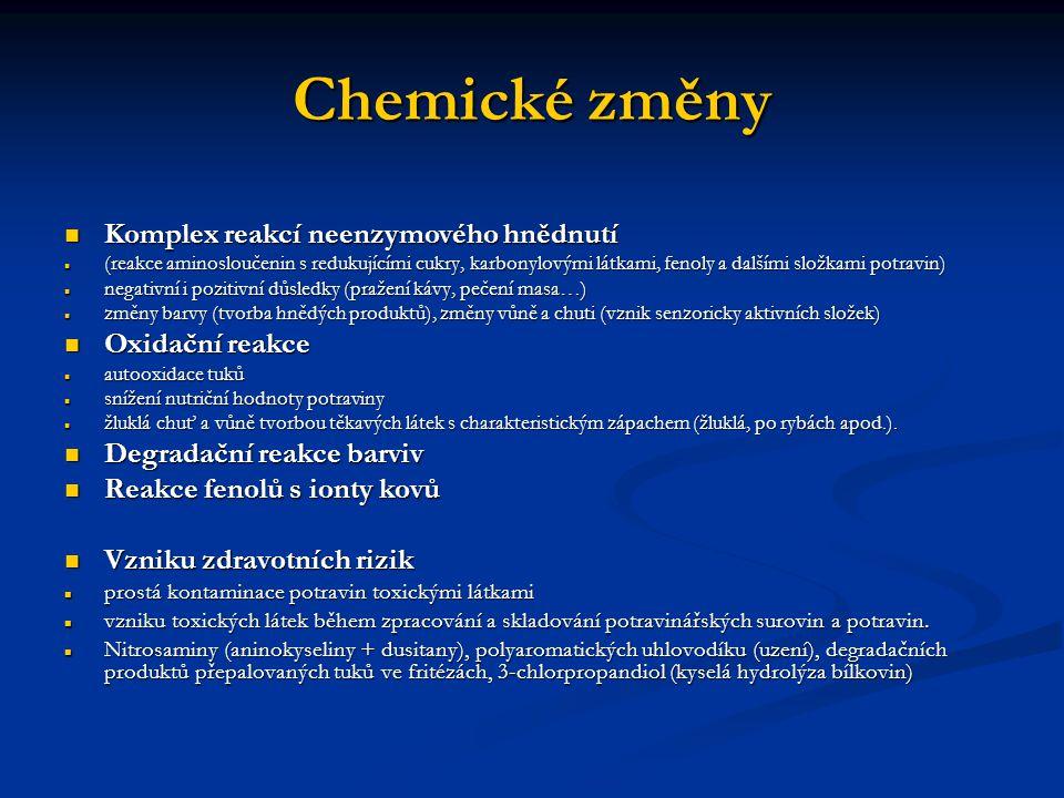 Chemické změny Komplex reakcí neenzymového hnědnutí Komplex reakcí neenzymového hnědnutí (reakce aminosloučenin s redukujícími cukry, karbonylovými lá