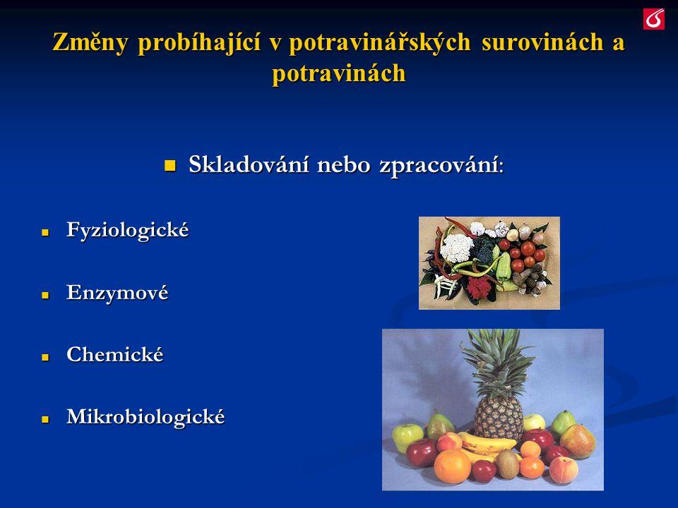 Fyziologické změny Živá rostlinná pletiva a živočišné tkáně: Živá rostlinná pletiva a živočišné tkáně: Dynamická rovnováha Dynamická rovnováha (procesy v organismu probíhají organizovaně, fyziologické reakce na sebe navzájem navazují) Sklizeň (ovoce,zelenina) Sklizeň (ovoce,zelenina) Porážka (maso) Porážka (maso) Přerušení dynamické rovnováhy (hromadění reakčních produktů, které nejsou metabolizovány)  Změny Změny Žádoucí + nežádoucí