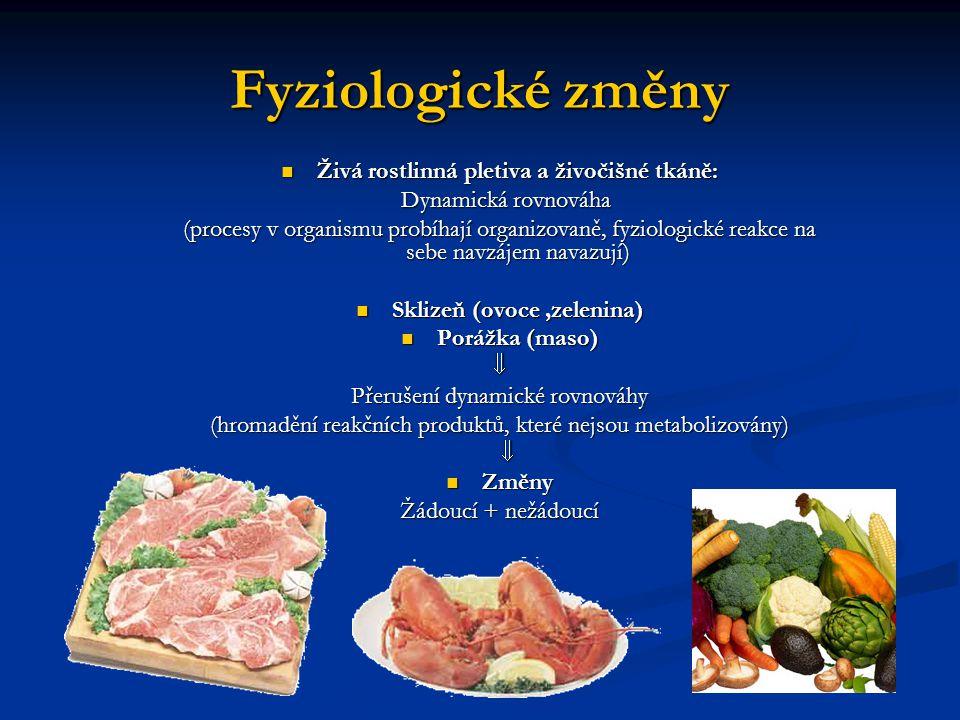 Fyziologické změny Živá rostlinná pletiva a živočišné tkáně: Živá rostlinná pletiva a živočišné tkáně: Dynamická rovnováha Dynamická rovnováha (proces