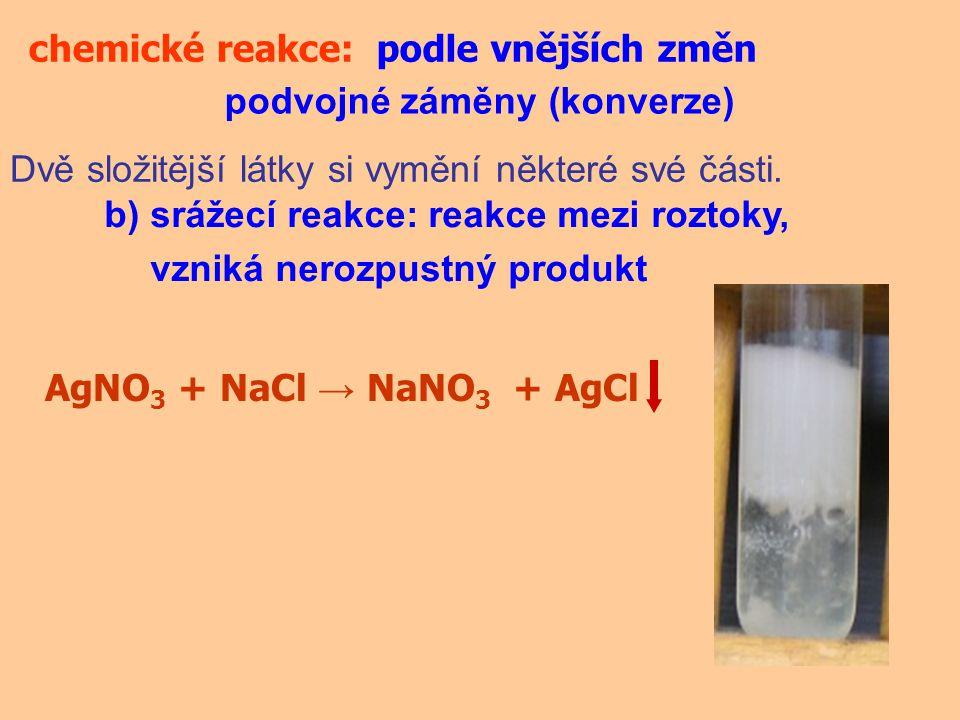 chemické reakce:podle vnějších změn podvojné záměny (konverze) Dvě složitější látky si vymění některé své části. b) srážecí reakce: reakce mezi roztok
