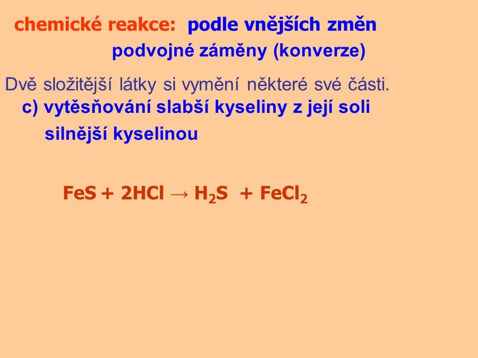 chemické reakce:podle vnějších změn podvojné záměny (konverze) Dvě složitější látky si vymění některé své části. c) vytěsňování slabší kyseliny z její