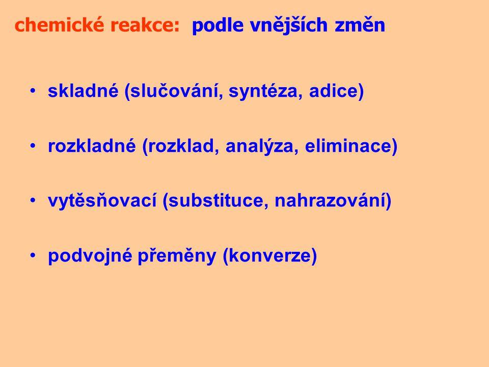 skladné (slučování, syntéza, adice) rozkladné (rozklad, analýza, eliminace) vytěsňovací (substituce, nahrazování) podvojné přeměny (konverze) chemické