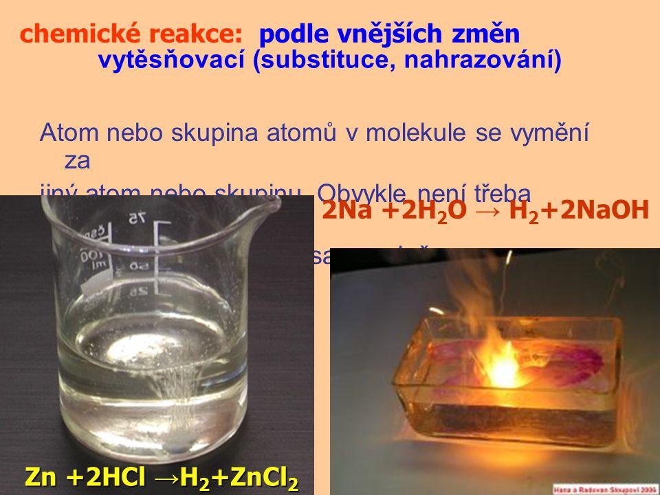Atom nebo skupina atomů v molekule se vymění za jiný atom nebo skupinu. Obvykle není třeba dodávat energii, reakce probíhá samovolně. chemické reakce: