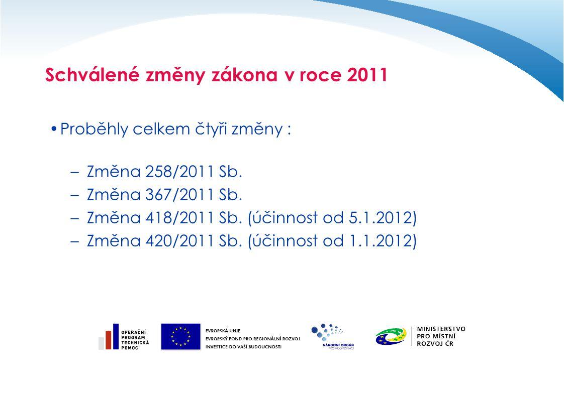 Schválené změny zákona v roce 2011 Proběhly celkem čtyři změny : –Změna 258/2011 Sb. –Změna 367/2011 Sb. –Změna 418/2011 Sb. (účinnost od 5.1.2012) –Z