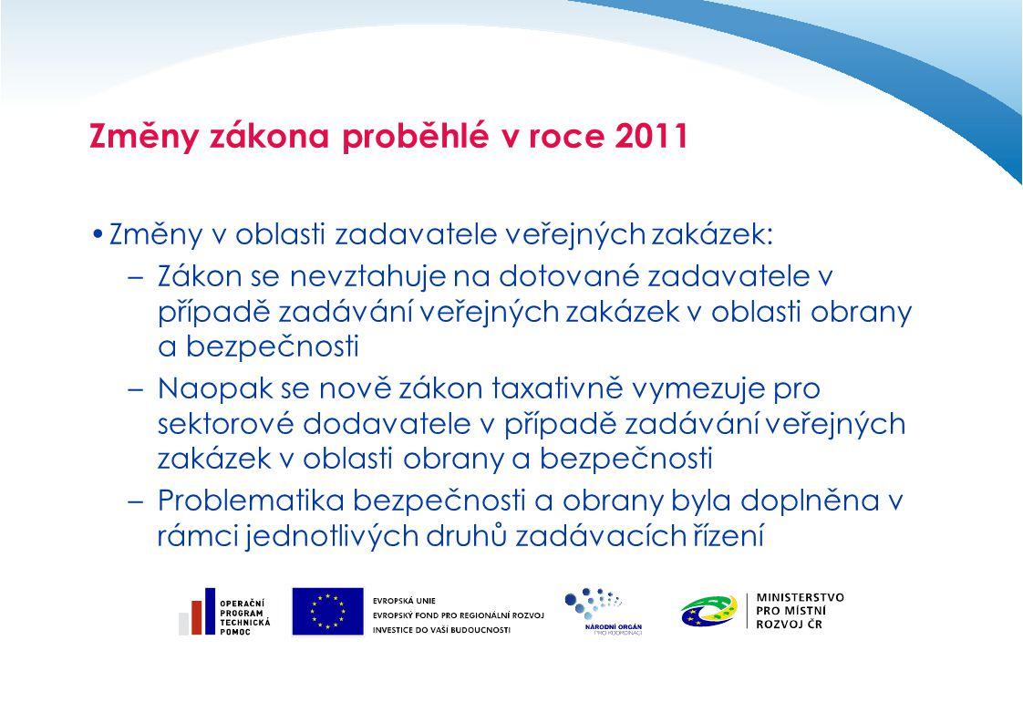 Změny zákona proběhlé v roce 2011 Změny v oblasti zadavatele veřejných zakázek: –Zákon se nevztahuje na dotované zadavatele v případě zadávání veřejný