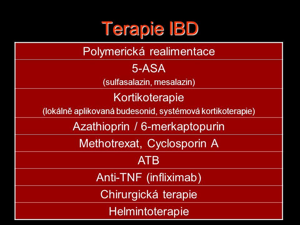 Terapie IBD Polymerická realimentace 5-ASA (sulfasalazin, mesalazin) Kortikoterapie (lokálně aplikovaná budesonid, systémová kortikoterapie) Azathioprin / 6-merkaptopurin Methotrexat, Cyclosporin A ATB Anti-TNF (infliximab) Chirurgická terapie Helmintoterapie