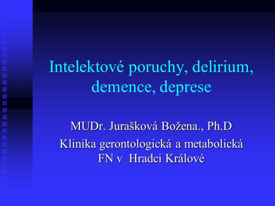 Intelektové poruchy psychické změny ve stáří psychické změny ve stáří mozkové selhávání-mozková dysfunkce mozkové selhávání-mozková dysfunkce mozek se stává abnormálním v důsledku difuzních, funkčních nebo patologických změn mozek se stává abnormálním v důsledku difuzních, funkčních nebo patologických změn př.-demence, delirium př.-demence, delirium zhodnocení duševního stavu a mentálních funkcí- MMSE test dle Folsteina (87%sensitivita, 82% specifita zhodnocení duševního stavu a mentálních funkcí- MMSE test dle Folsteina (87%sensitivita, 82% specifita zhodnocení=nezbytnou součástí vyšetření pac.