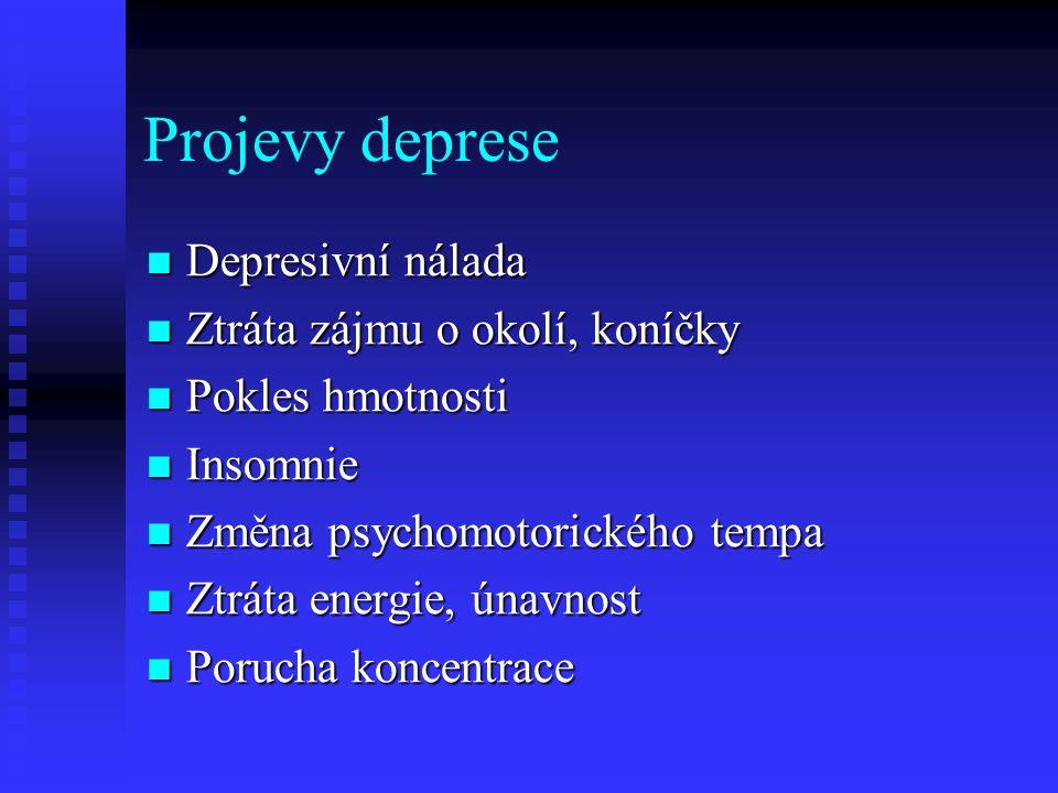 Projevy deprese Depresivní nálada Depresivní nálada Ztráta zájmu o okolí, koníčky Ztráta zájmu o okolí, koníčky Pokles hmotnosti Pokles hmotnosti Inso