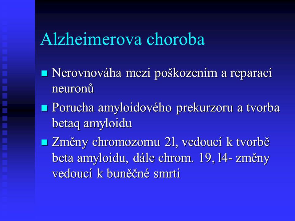 Alzheimerova choroba Nerovnováha mezi poškozením a reparací neuronů Nerovnováha mezi poškozením a reparací neuronů Porucha amyloidového prekurzoru a tvorba betaq amyloidu Porucha amyloidového prekurzoru a tvorba betaq amyloidu Změny chromozomu 2l, vedoucí k tvorbě beta amyloidu, dále chrom.