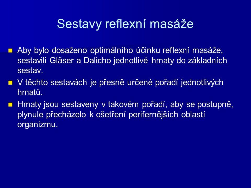 Sestavy reflexní masáže Aby bylo dosaženo optimálního účinku reflexní masáže, sestavili Gläser a Dalicho jednotlivé hmaty do základních sestav. V těch