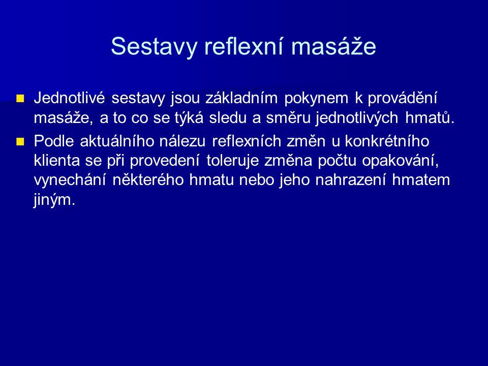 Sestavy reflexní masáže Jednotlivé sestavy jsou základním pokynem k provádění masáže, a to co se týká sledu a směru jednotlivých hmatů. Podle aktuální