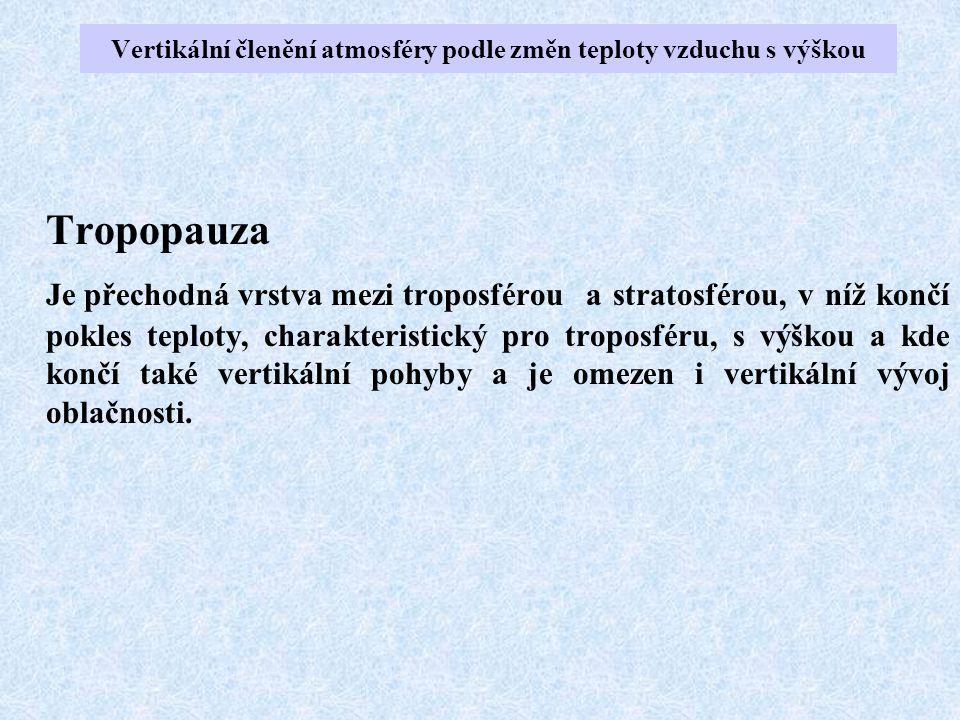 Tropopauza Je přechodná vrstva mezi troposférou a stratosférou, v níž končí pokles teploty, charakteristický pro troposféru, s výškou a kde končí také