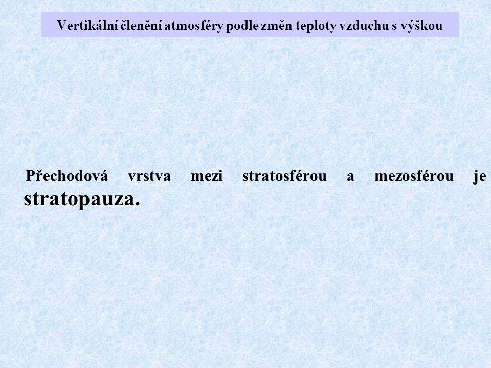 stratopauza. Přechodová vrstva mezi stratosférou a mezosférou je stratopauza. Vertikální členění atmosféry podle změn teploty vzduchu s výškou