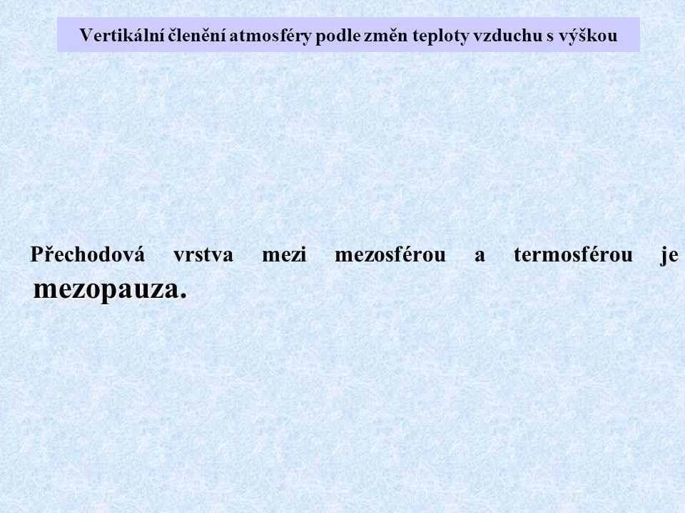 mezopauza. Přechodová vrstva mezi mezosférou a termosférou je mezopauza. Vertikální členění atmosféry podle změn teploty vzduchu s výškou