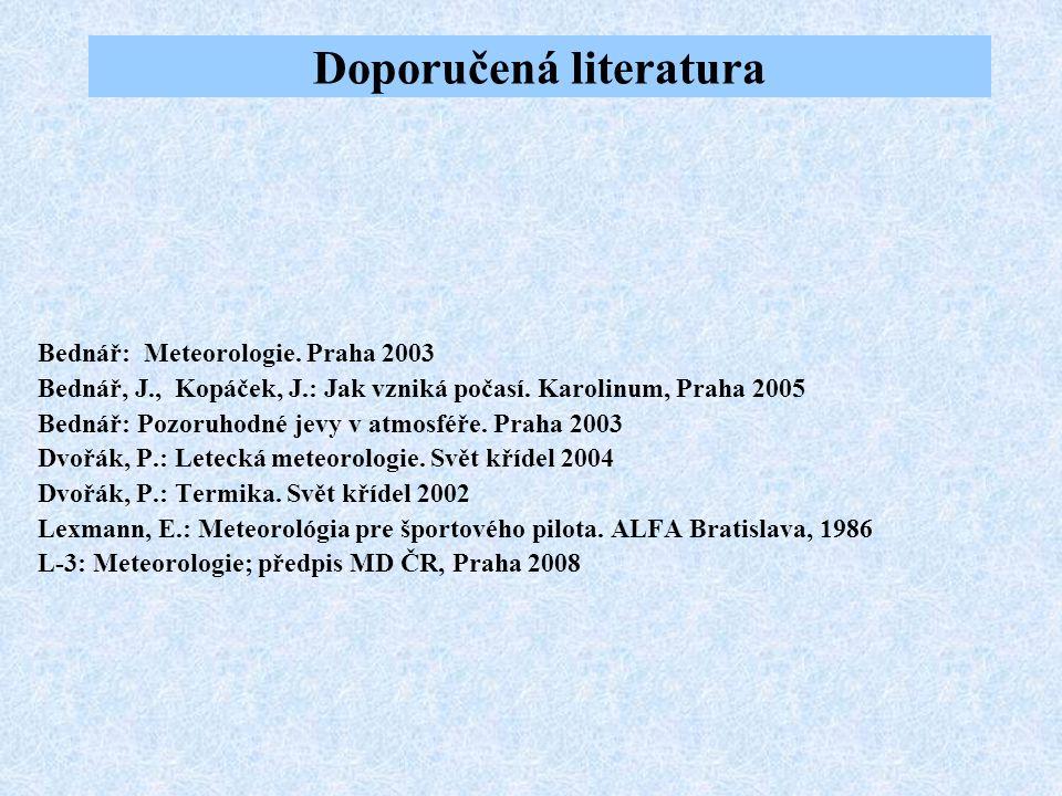 Doporučená literatura Bednář: Meteorologie. Praha 2003 Bednář, J., Kopáček, J.: Jak vzniká počasí. Karolinum, Praha 2005 Bednář: Pozoruhodné jevy v at