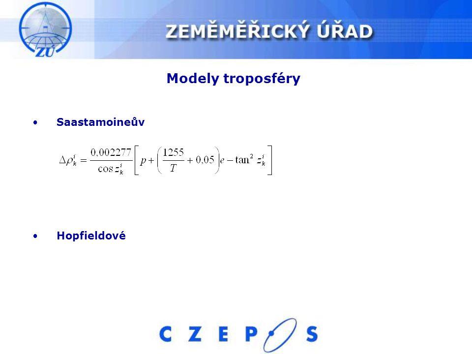 Modely troposféry Saastamoineův Hopfieldové
