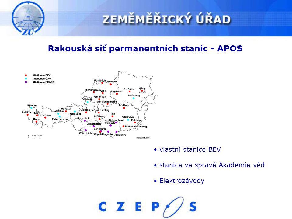Rakouská síť permanentních stanic - APOS vlastní stanice BEV stanice ve správě Akademie věd Elektrozávody