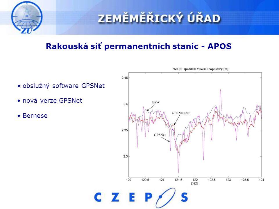 Rakouská síť permanentních stanic - APOS obslužný software GPSNet nová verze GPSNet Bernese