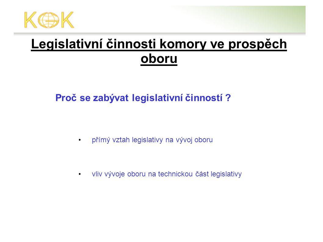 Legislativní činnosti komory ve prospěch oboru Proč se zabývat legislativní činností .