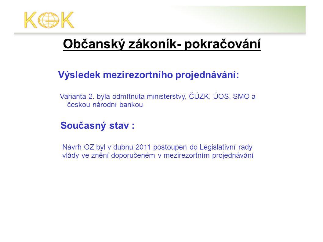 Občanský zákoník- pokračování Výsledek mezirezortního projednávání: Varianta 2.