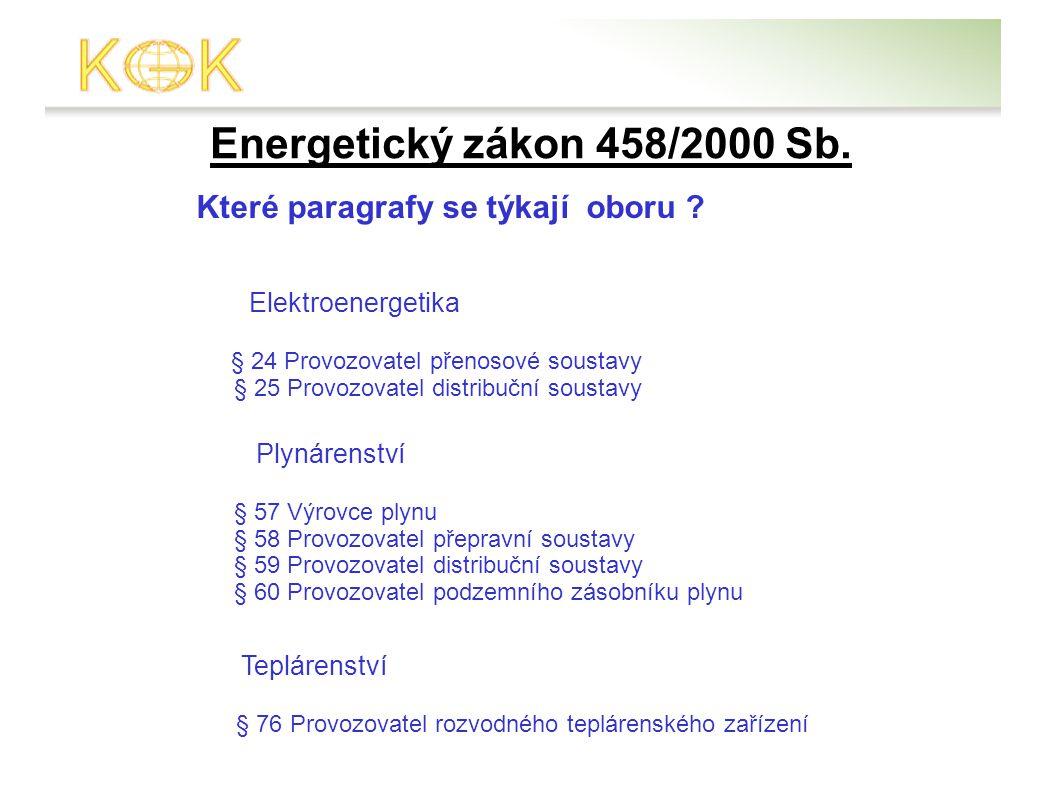 Energetický zákon 458/2000 Sb. Které paragrafy se týkají oboru .
