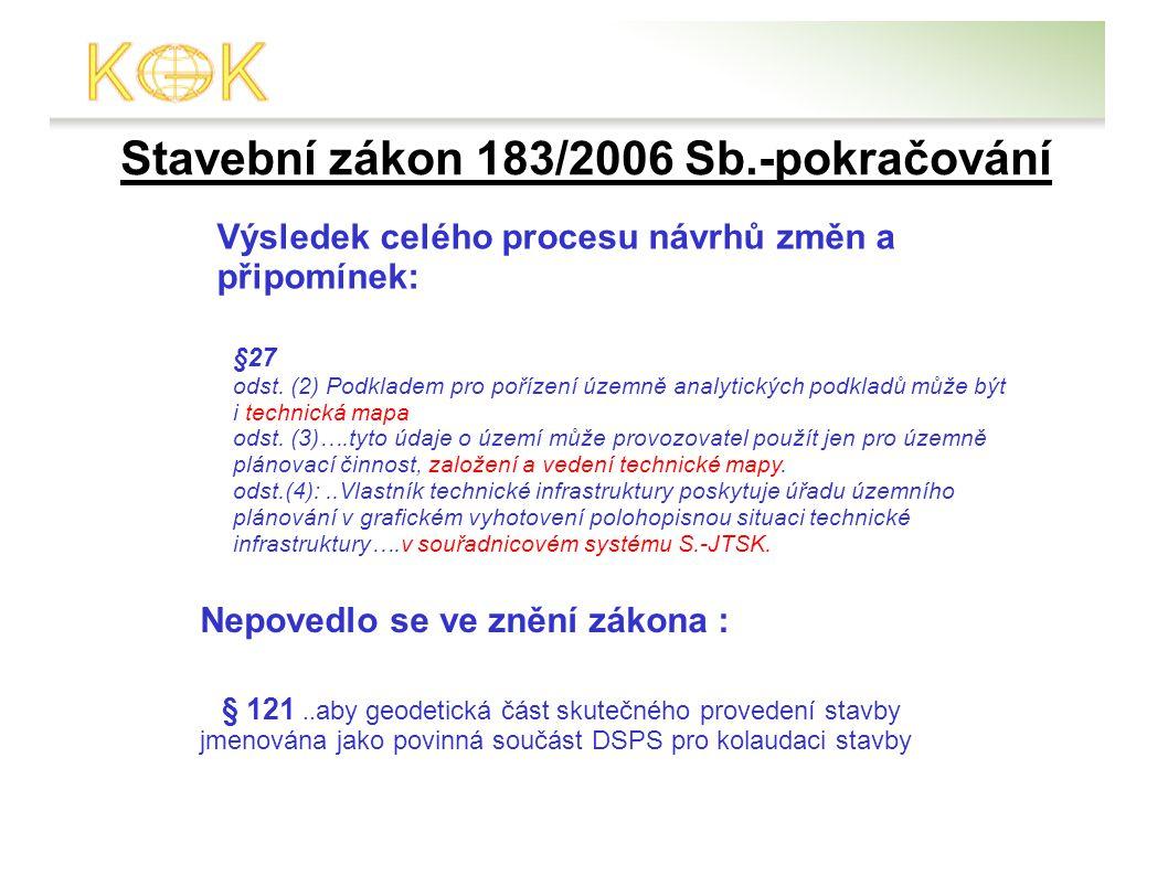 Stavební zákon 183/2006 Sb.-pokračování Výsledek celého procesu návrhů změn a připomínek: §27 odst.