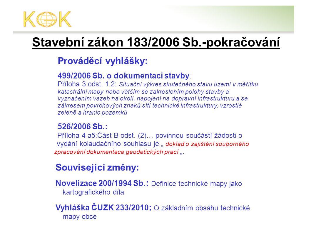 Stavební zákon 183/2006 Sb.-pokračování Prováděcí vyhlášky: Související změny: Novelizace 200/1994 Sb.