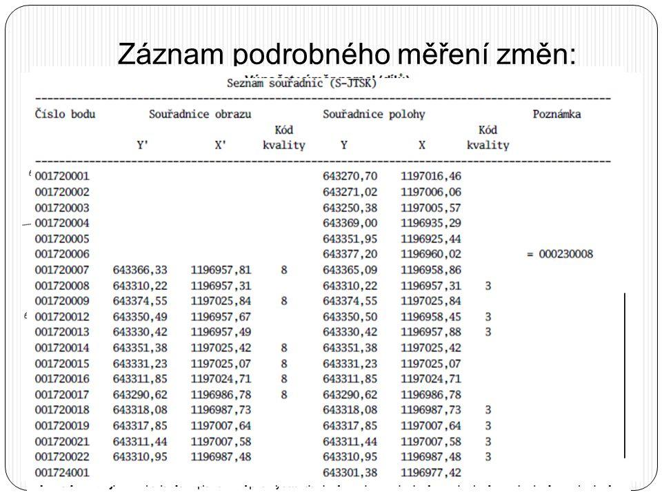 Záznam podrobného měření změn:  Popisové pole:  5 míst pro číslo ZPMZ  Vypuštěny údaje o:  souřadnicovém systému (již jen S-JTSK)  použitém příst